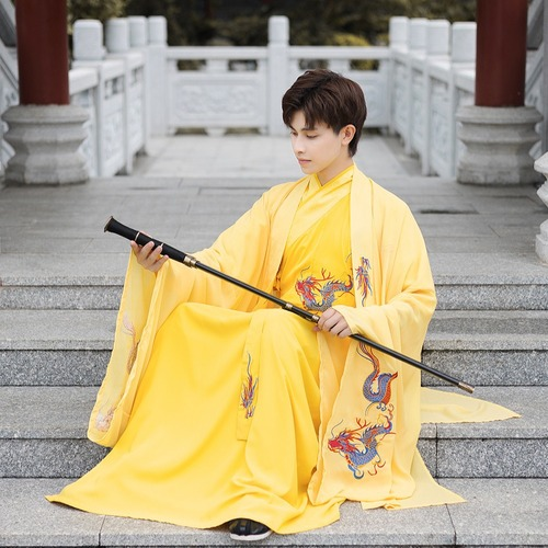 Men dragon hanfu chinese king emperor cosplay ancient folk costumes Three-piece men's Chinese style Tang suit Ancient style gold dragon robe