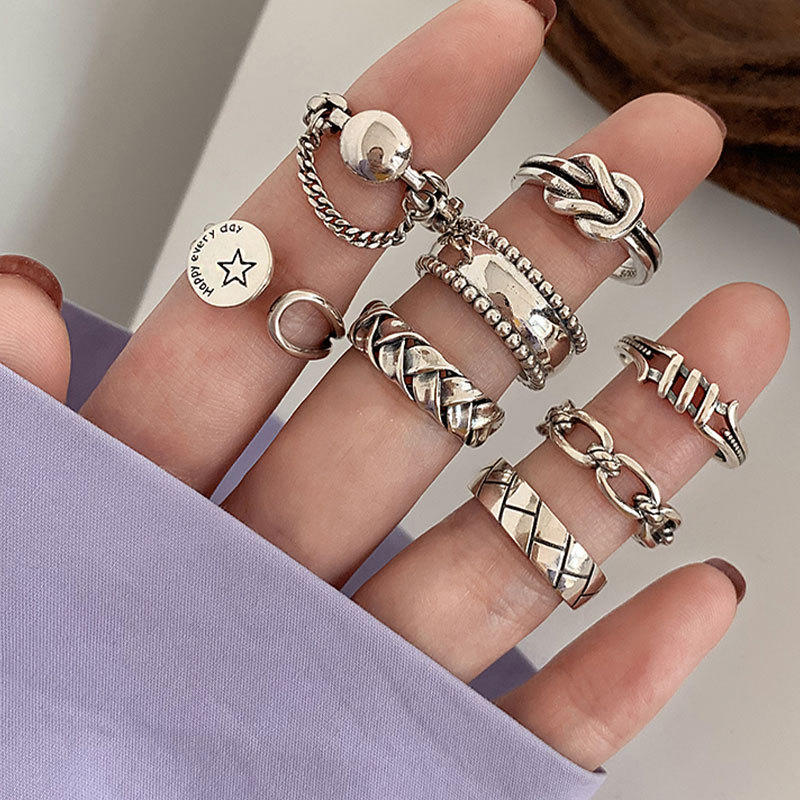 Women's Heavy Industry Combination Index Finger Ring Sterling Silver Personality Instagram Cold Wind Ring