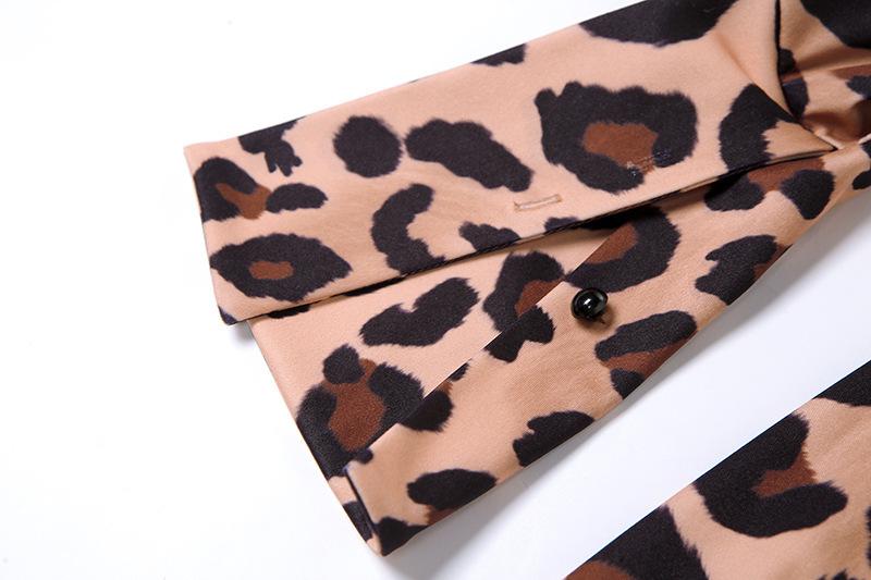 women s long-sleeved low-cut leopard print dress nihaostyles clothing wholesale NSXPF74048
