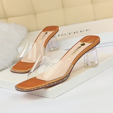 Han edition contracted daily 6899-1 female sandals with thick with crystal high-heeled lag peep-toe transparent word women slippers