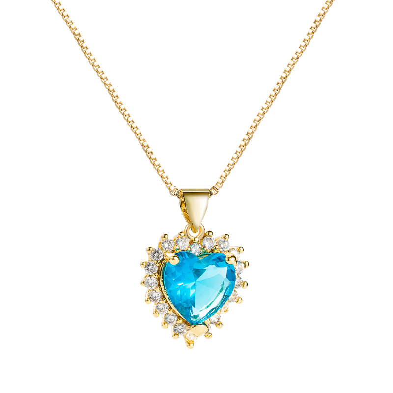 fashion hollow heart of the sea gemstone copper microinlaid zircon necklace NHLN355276