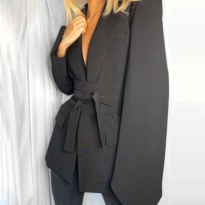 Adjustable Corset Blazer, Tied Waist Long Sleeve Blazer Jacket for Women (Black)