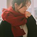 圍巾女 冬季韓版純色圍脖ins學生少女情侶仿羊絨毛線 毛線圍巾