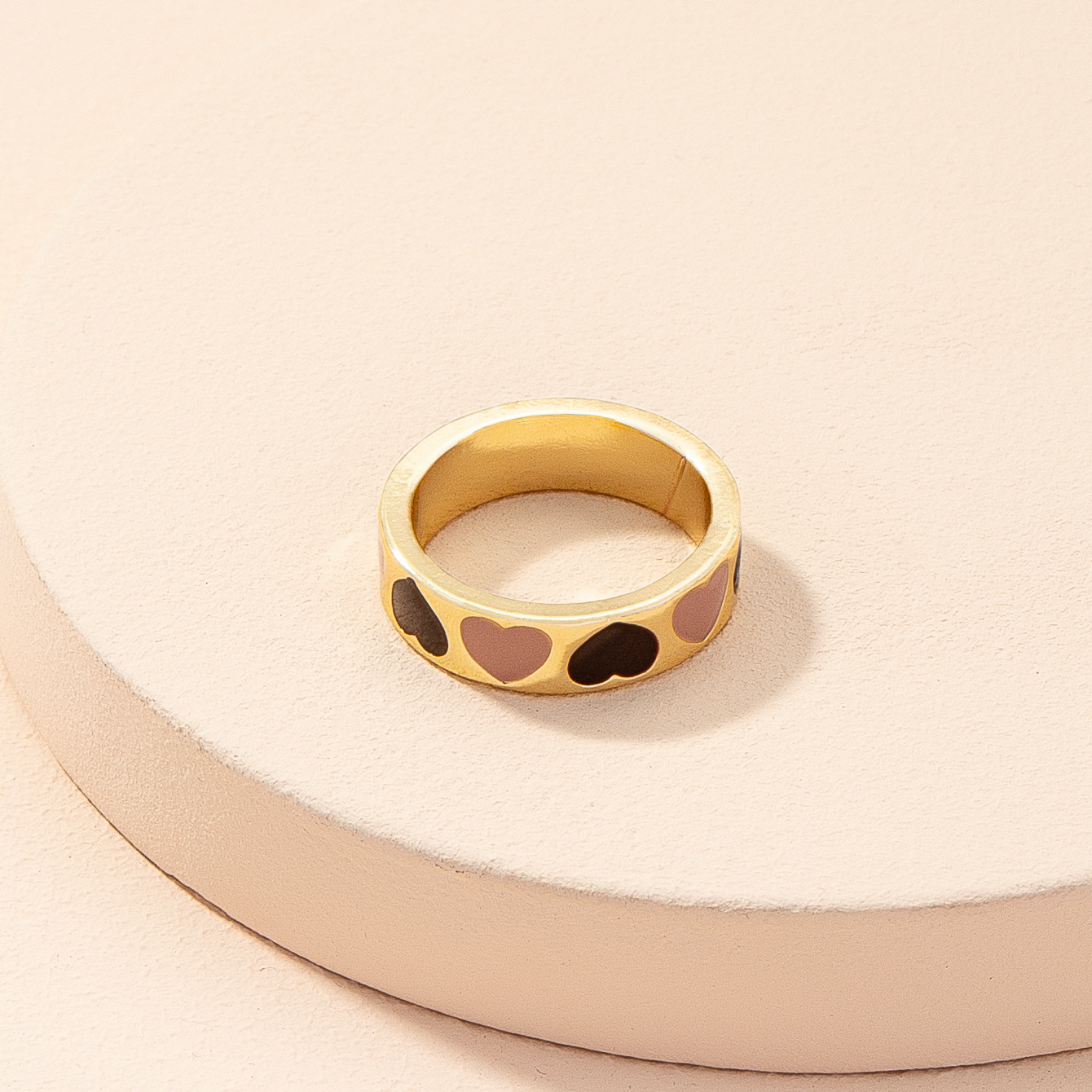 Korean alloy dripping contrast color heart ring wholesale  NHAI368255