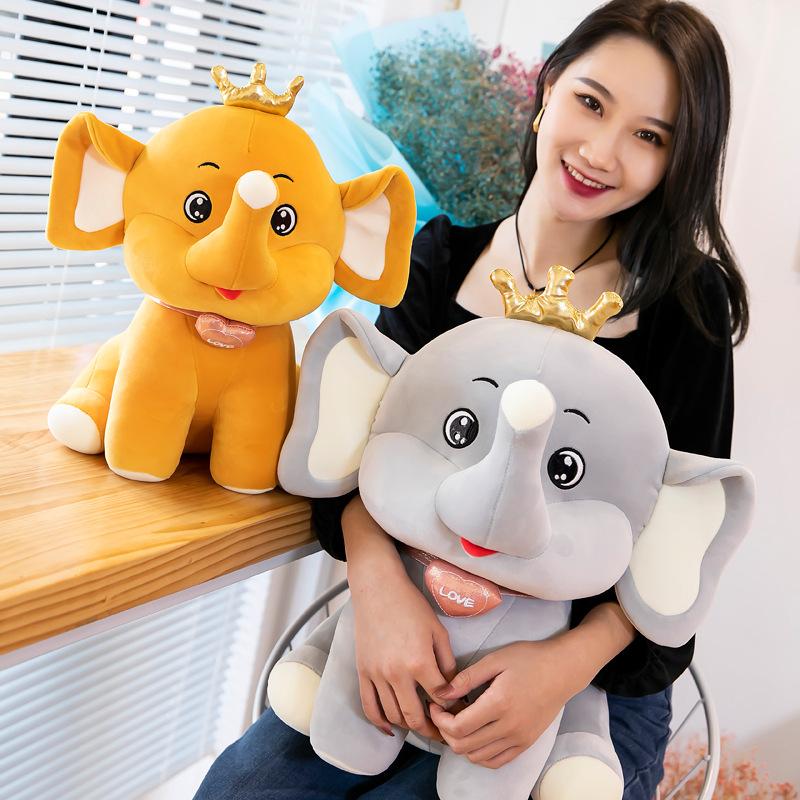 创意皇冠大象毛绒玩具可爱呆萌小象公仔儿童陪伴女生礼物批发厂家