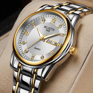 Watch one generation men's watch waterproof men's watch steel band watch dual-calendar quartz watch retro watch wholesale