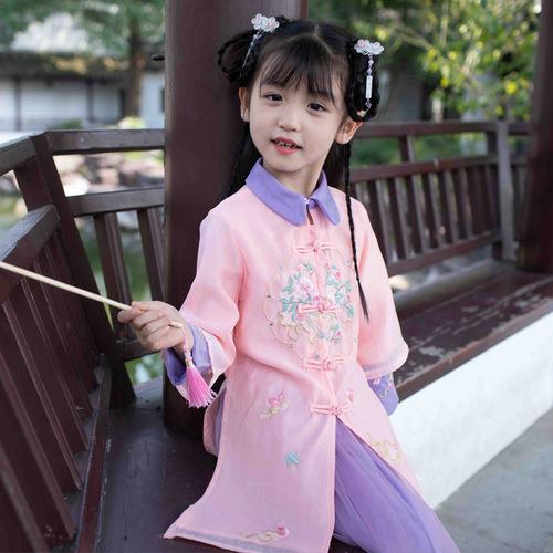 Girls chinese dresses  princess cosplay dress hanfu kids Two piece long sleeve chinese ancient skirt