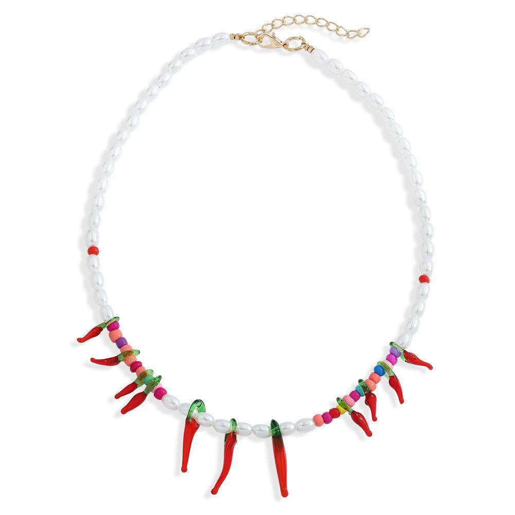 Fashion geometric pearl earrings necklace set NHJQ330753