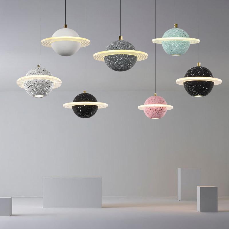 星球小吊灯创意个性餐厅吧台水泥北欧现代简约网红长线卧室床头灯