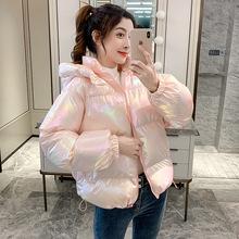 亮面羽絨棉服女冬季2021新款寬松韓版短款加厚炫彩棉襖面包服外套