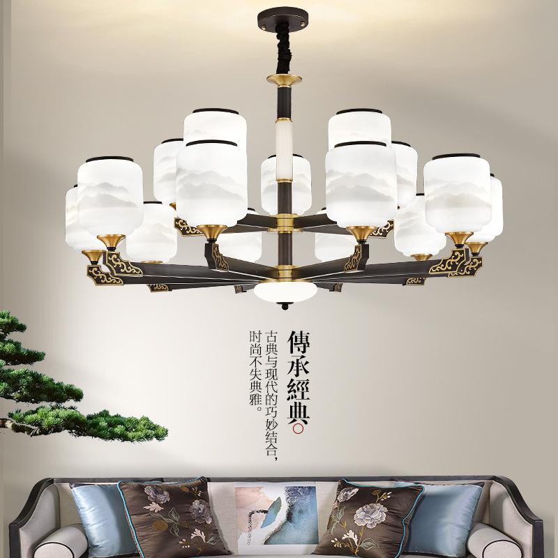 新中式全铜吊灯现代简约客厅灯餐厅吊灯卧室灯中国风灯具玉石灯饰