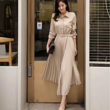 韓國chic百褶裙襯衫連衣裙中長款收腰顯瘦大擺長袖腰帶連衣裙