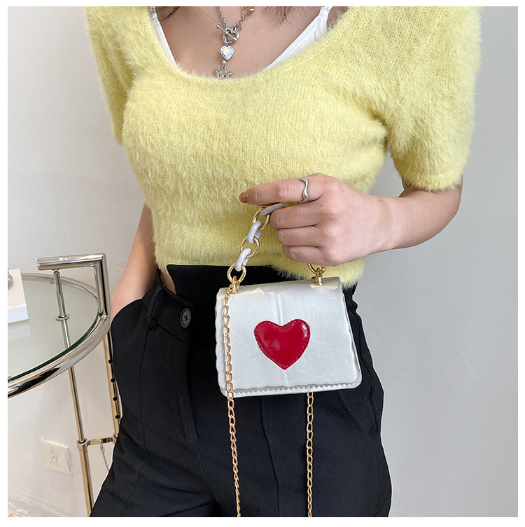 Portable chain heart shoulder lipstick bag  NHRU337429