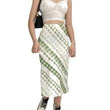 2021女士针织扎染立体图案渐变连腰休闲迷你半身裙