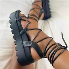 厚底轻便中跟2021年新款外贸跨境女士鞋子脚环绑带大码鞋罗马凉鞋
