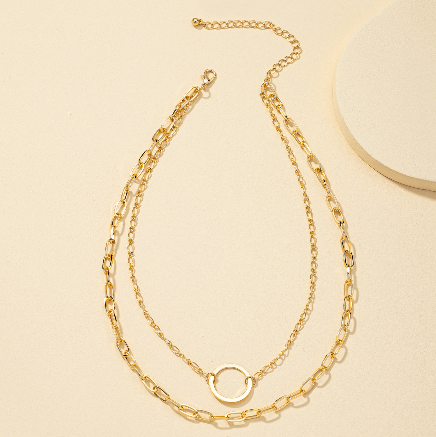 Double layered hip hop necklace NHQJ316727