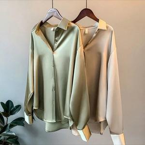 长袖缎面衬衫女设计感时尚2021春秋装新款垂感复古港味宽松夏季衣