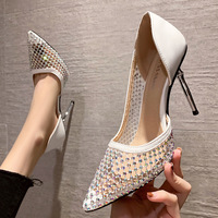 1118-5 in Europe and the sexy pointed show thin thin gauze high heels with diamond women's shoes side empty web celebrity for women's shoes