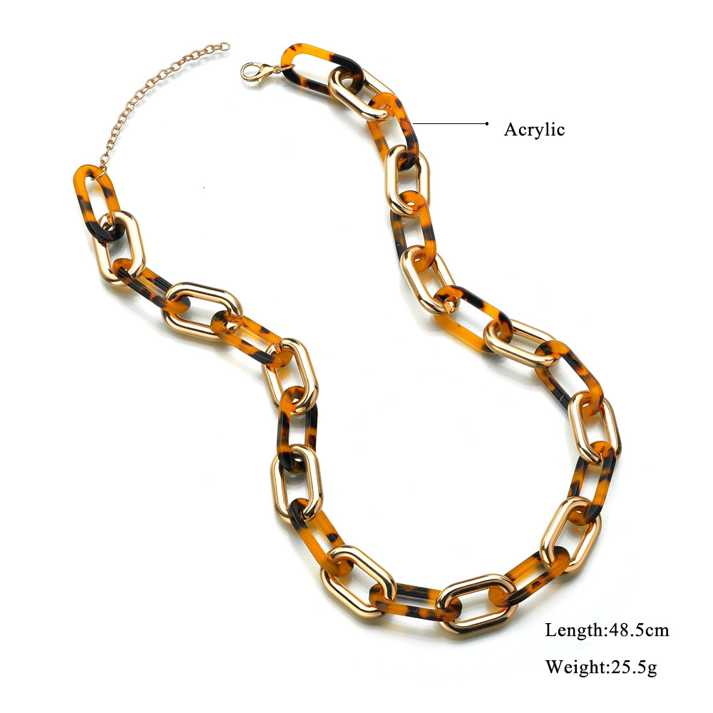 acetate plate leopard print necklace NHBQ307246