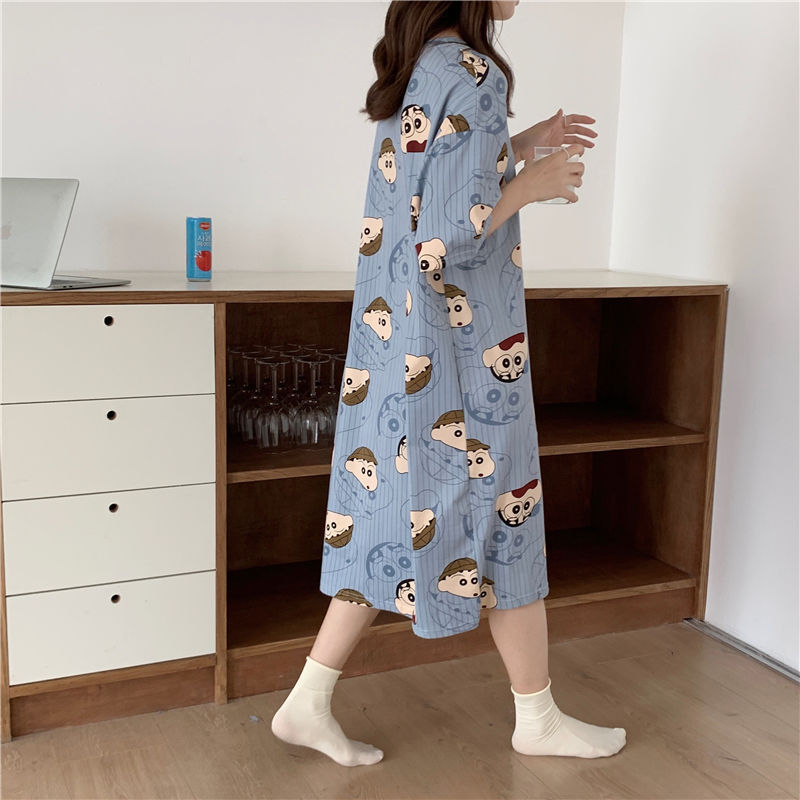 睡裙女夏季韩版春秋学生家居服可爱薄款短袖卡通宽松孕妇睡衣夏天