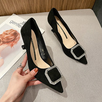 528-6 in Europe and the United States pointed single spring new shoes with diamond fine with shallow mouth buckle women's high-heeled shoes wholesale
