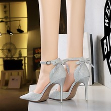286-2 the European and American wind hollow high-heeled shoes high heel with shallow mouth pointed hollow out one word after the bowknot sandals