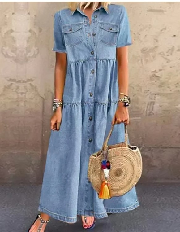 Y2057 Europe And The United States Denim Style Long Style Multi - button Old Dresses