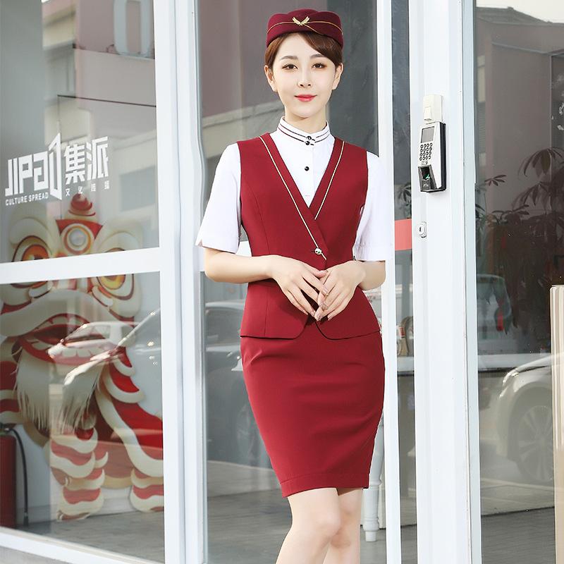 2021新款春季西装外套女职业女裙套装西服马甲衬衫前台空乘工作服