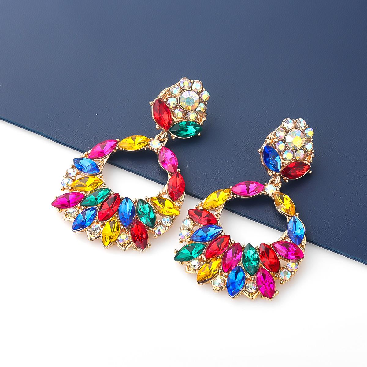fashion new style exaggerated alloy rhinestone geometric earrings NHJE343720