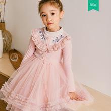 【2件100元不退換】女童連衣裙兒童蕾絲長袖網紗加絨款56