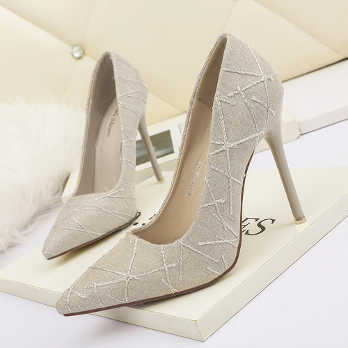 3058-2 han edition fashion pointed shallow mouth high-heeled shoes nightclub show thin and sexy women's shoes sequins professional OL for women's shoes