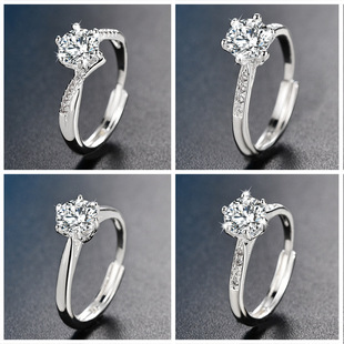 Mossang ring simple eight-star zircon ring female silver plated marriage proposal couple ring Tanabata birthday gift for girlfriend