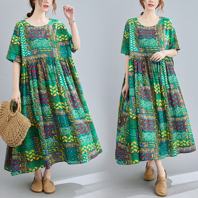 Women Summer Plus size Dresses retro ethnic dress with fat belly covered Cotton and linen printed short sleeve round neck skirt