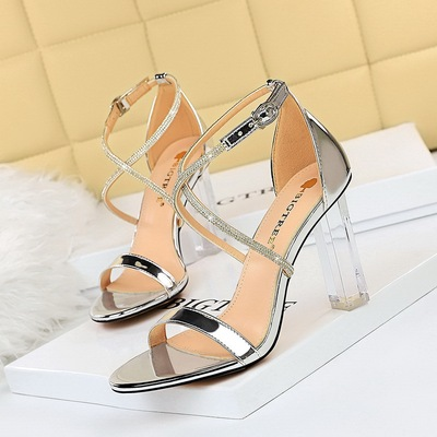 322-8 European and American fashion sexy summer wind crystal with high heels peep-toe shoes transparent diamond cross wi