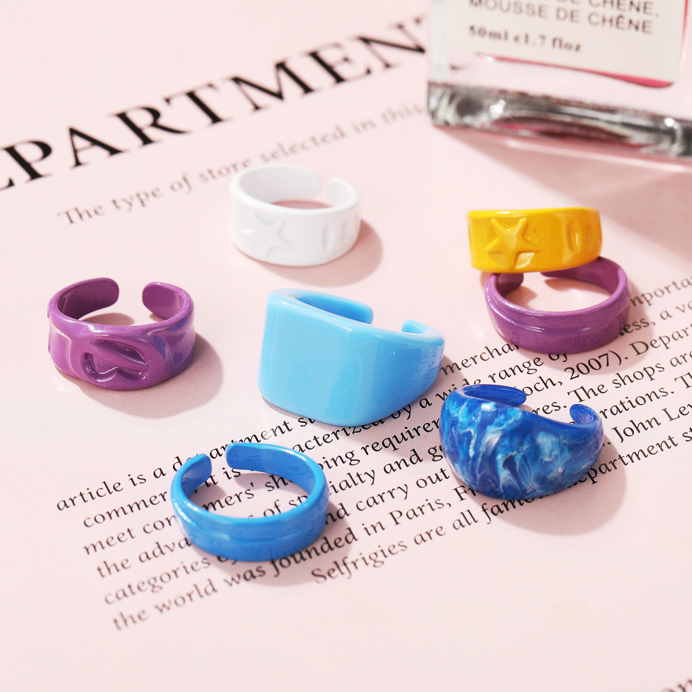 simple candy color spell diagonal stripes metal spray paint ring NHPJ361117