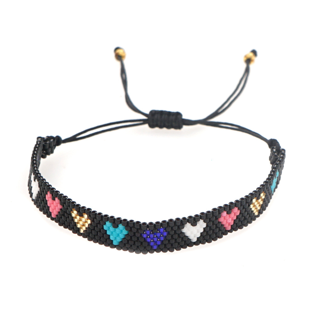 punk style retro colorful love woven handmade bracelet NHGW311798