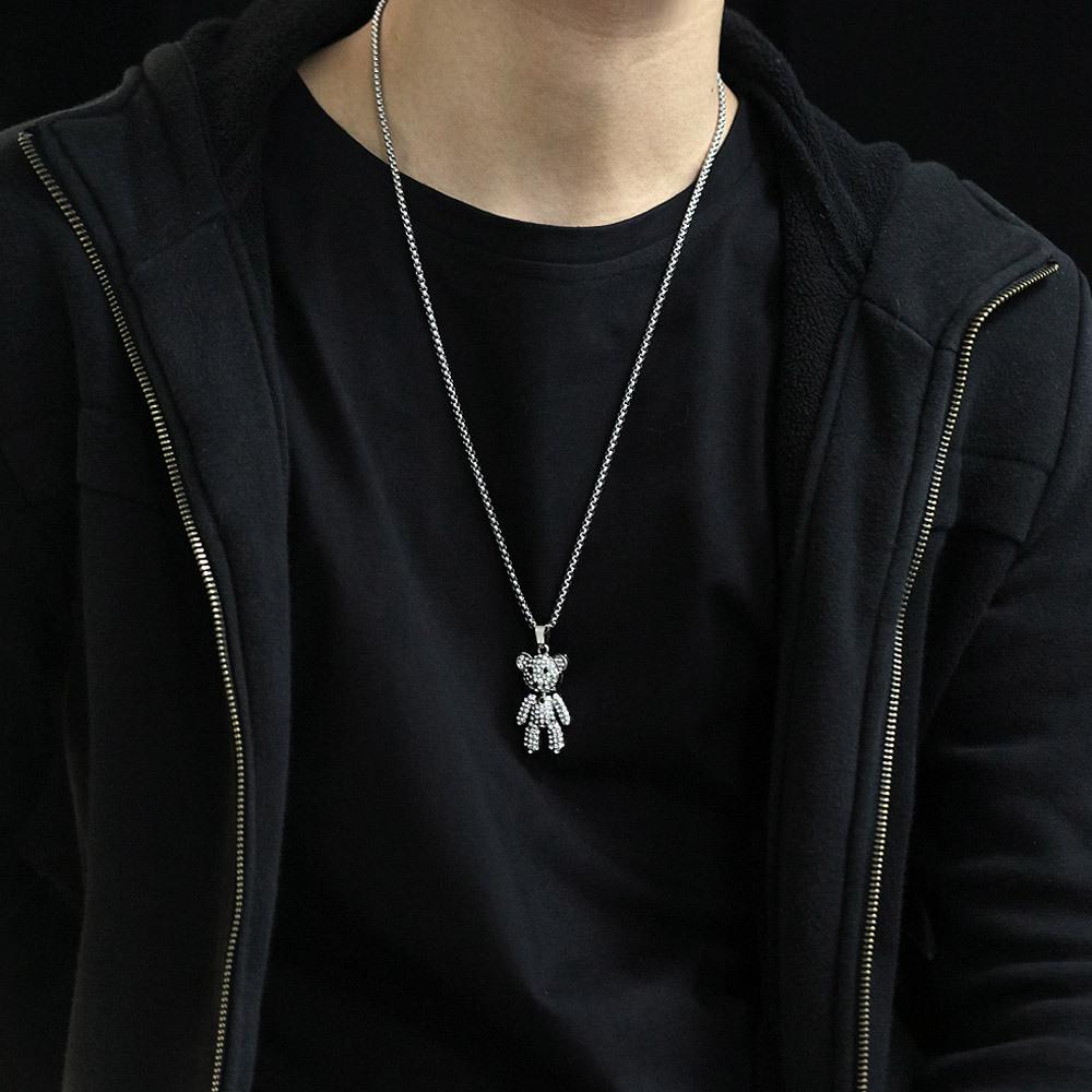 Fashion Titanium Steel Bear Necklace NHOP329491
