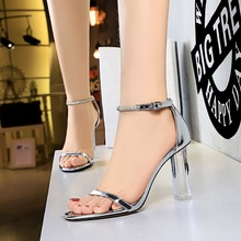 322-5 European and American fashion simple transparent with ultra high heels with the summer wind peep-toe diamond one word with sandals