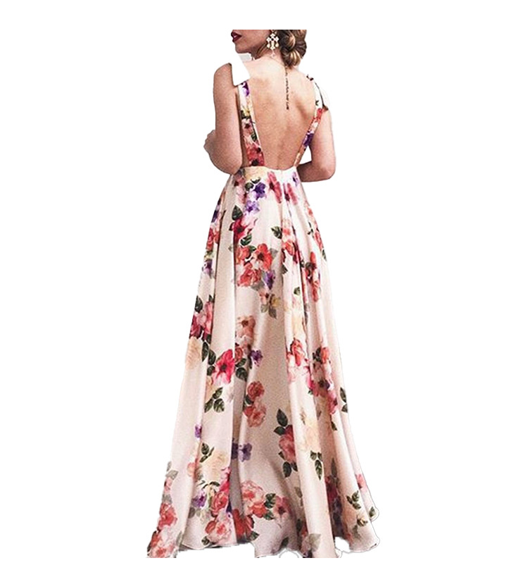 v-neck halter print big swing sleeveless suspender long dress  NSHHF53665