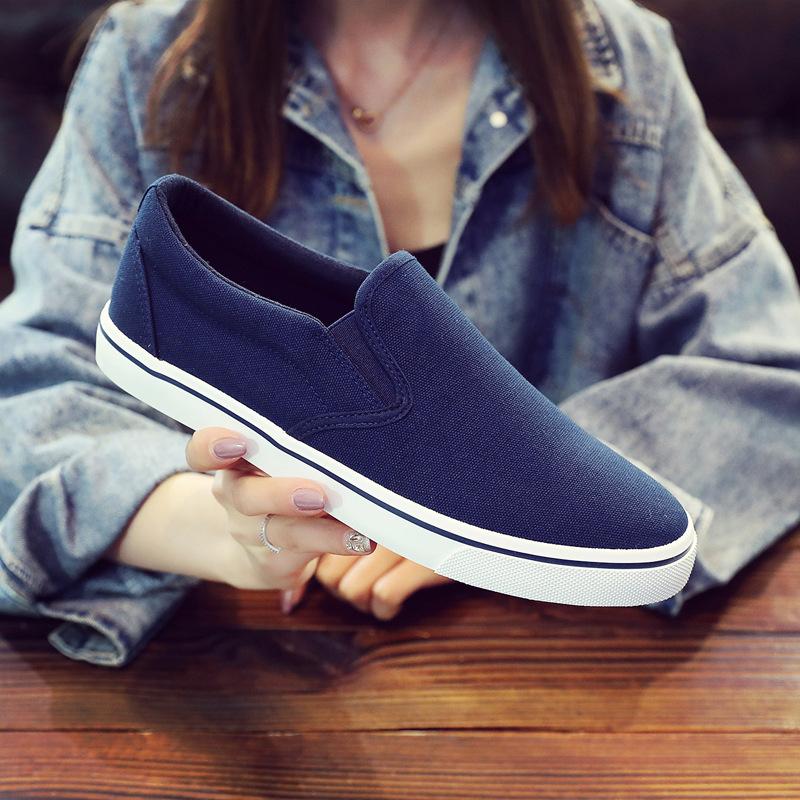 2021春季新款蓝白休闲帆布鞋潮流平底低帮套脚懒人鞋男女工装布鞋