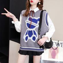 厂家2021新款欧洲站小熊毛衣女背心外穿女韩版春秋学院季针织马甲