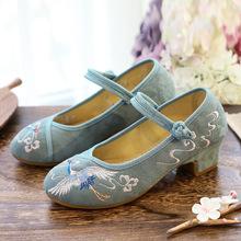 古風漢服繡花鞋女淡雅氣質高跟布鞋春秋民族風中跟舞蹈單鞋配旗袍