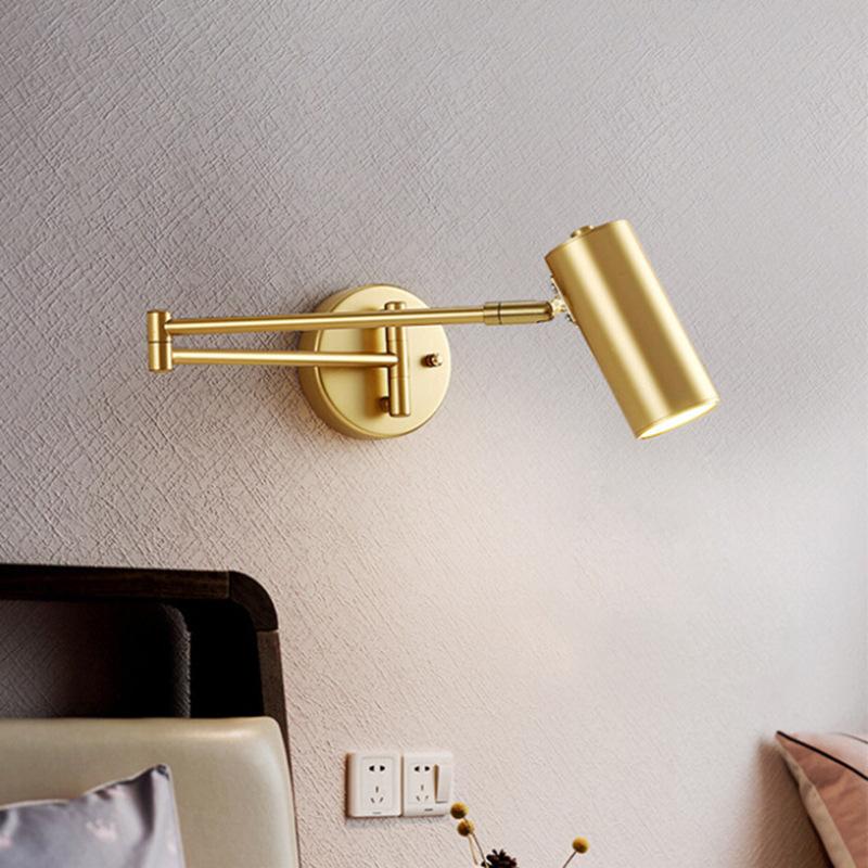 北欧简约卧室书房工作室酒店房间床头阅读灯折叠伸缩长杆摇臂壁灯