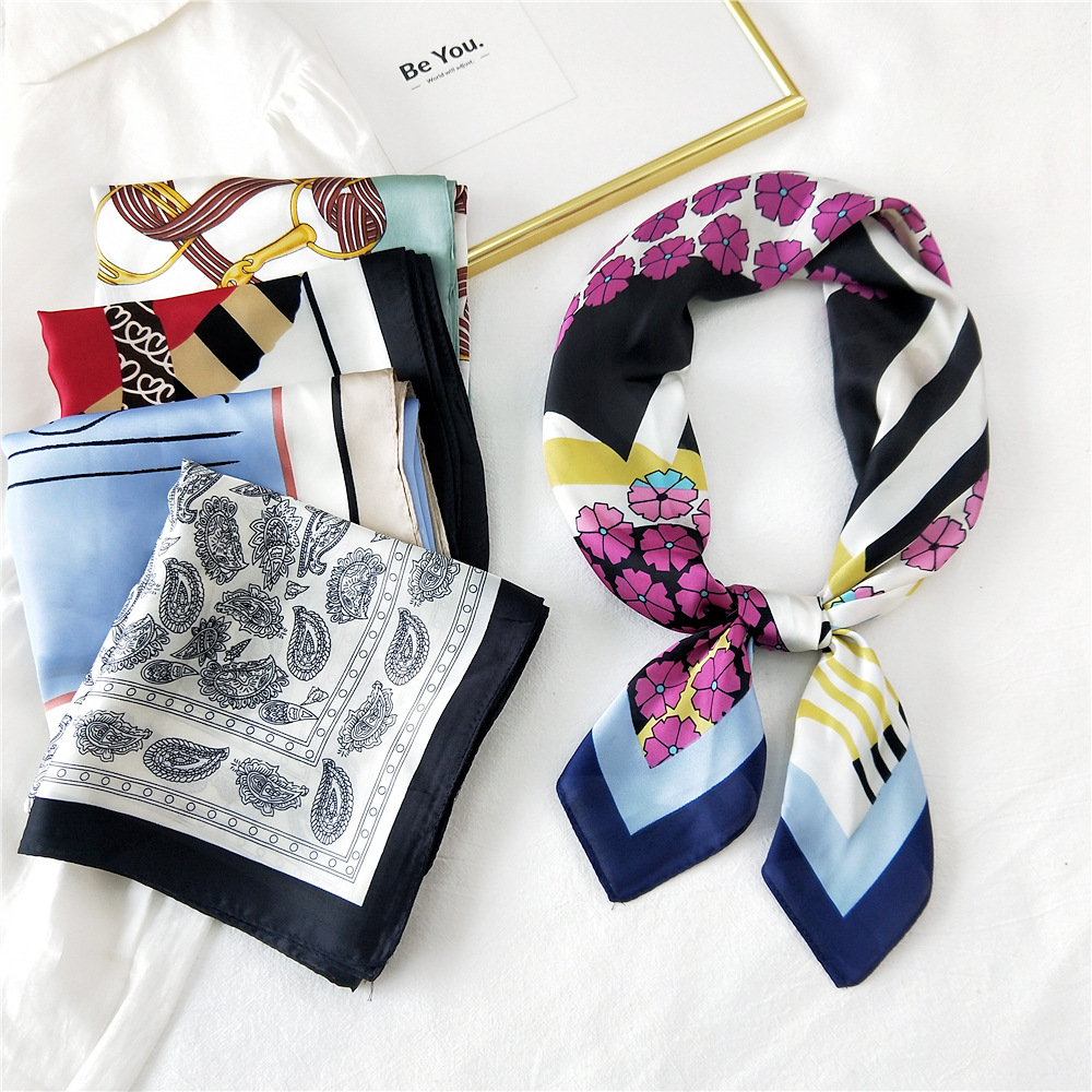 Korean printing silk square scarf wholesale NHMN337035