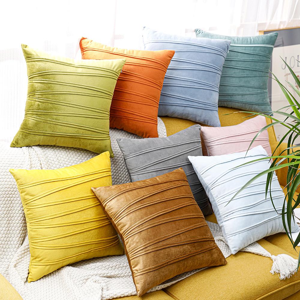 跨境北欧风抱枕天鹅绒沙发床汽车条纹方形靠背抱枕套家居装饰批发