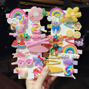 2pack Children's hairpin girls cartoon barrette hairpin Korean side clip Korean headdress girl with fine hair bangs clip