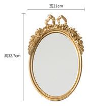 椭圆形化妆镜创意复古蝴蝶结树脂镜子家居软装饰品欧式摆件可挂墙