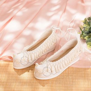 Women Red high-heeled hanfu fairy shoes Chinese wedding bride Xiuhe shoes old Beijing embroidered beaded Hanfu shoes for women