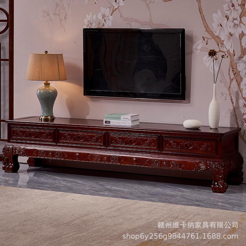 实木仿古雕花地柜影视柜矮柜桦木中式客厅电视柜明清古典雕花组合