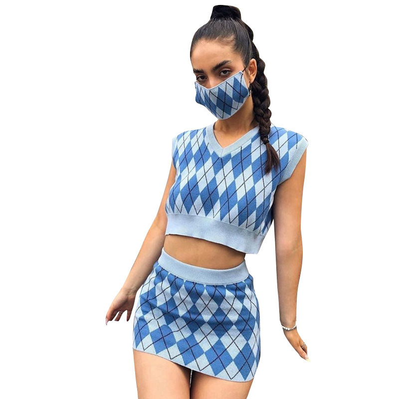 women's checkered knitted vest and skirt casual suit nihaostyles clothing wholesale NSXPF78388